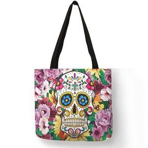 Eco-Friendly Folding Colorful Sugar Skull Tote Bag